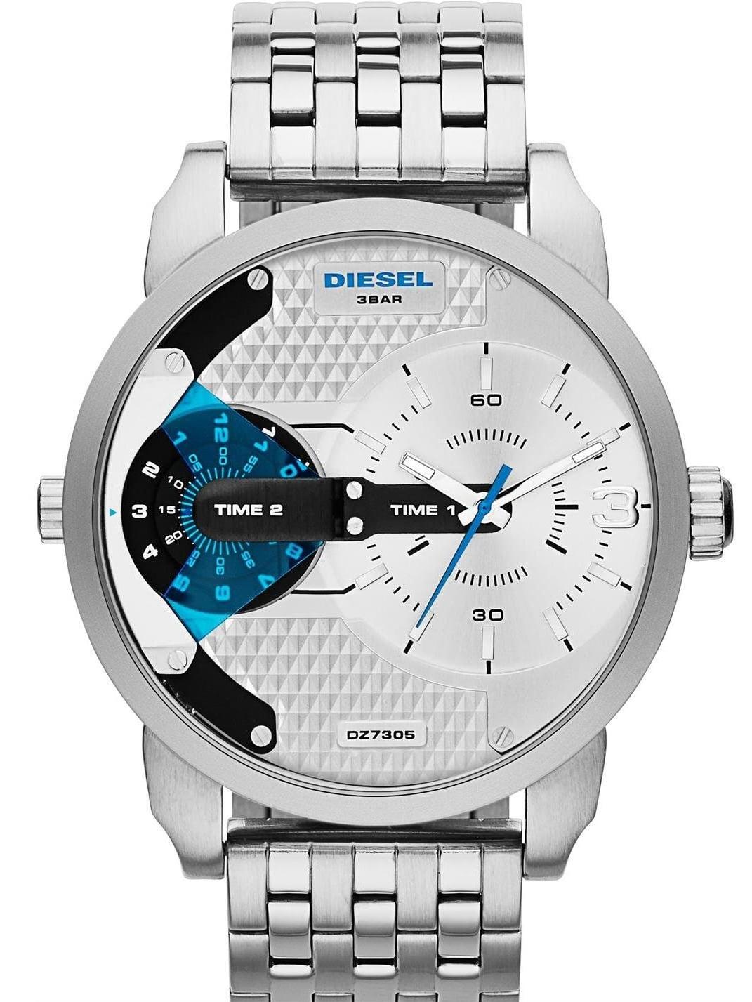 Diesel Men's 51mm Steel Bracelet & Case Quartz White Dial Analog Watch dz7305