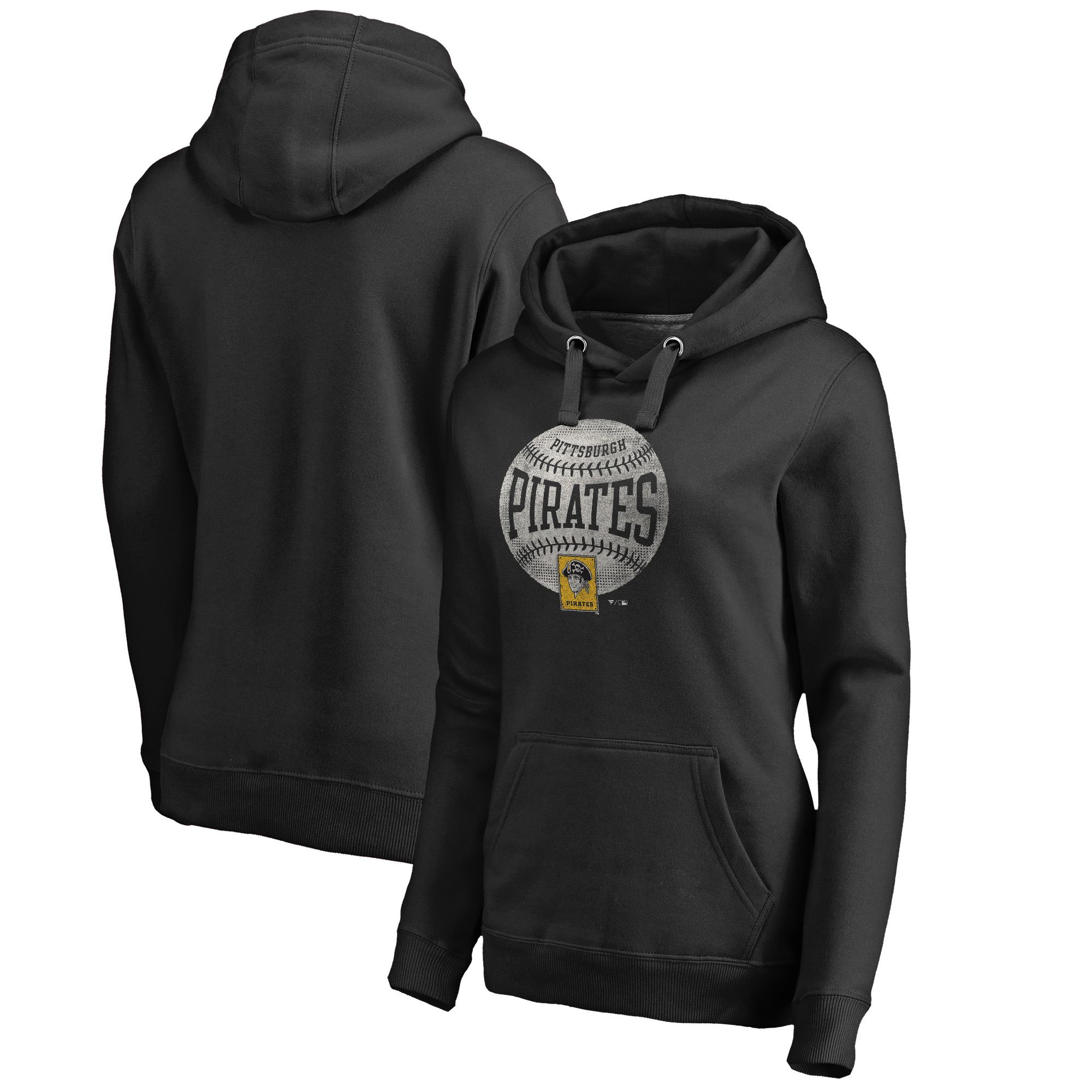 Pittsburgh Pirates Fanatics Branded Women's Cooperstown Collection Slider Pullover Hoodie - Black
