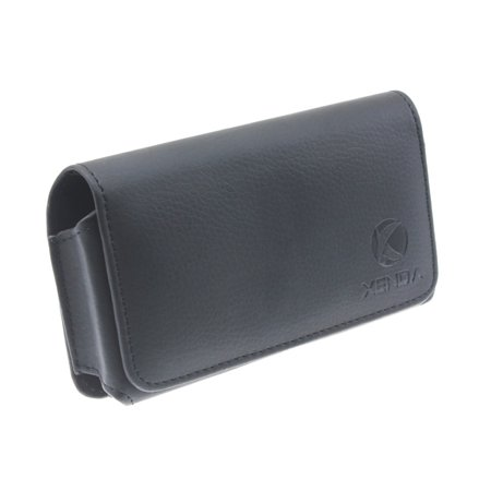 Black Horizontal Leather Case Compatible With LG Magna, G4c - Motorola Droid Ultra MAXX - Nokia Lumia 830 - Samsung Galaxy Z S4 Active (GT-i9295), ATIV SE - Sony Xperia Z2a Z - ZTE