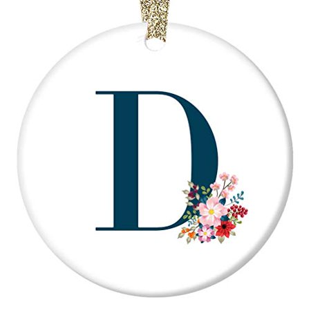 D Initial Ornament, Girls Name D Initial Christmas Porcelain Ornament, 3