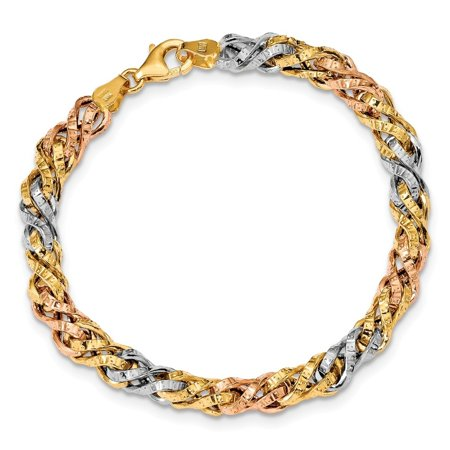 14k Tri Color Gold Textured Fancy Link (Link Tri Color)