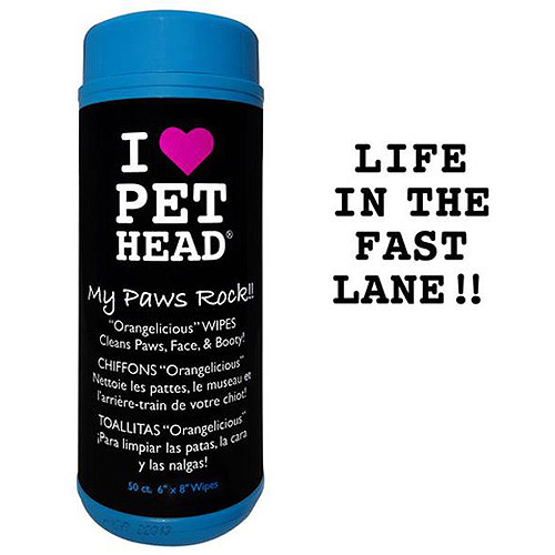 Pet Head I Heart Pet Head My Paws Rock Orangelicious Grooming Wipes
