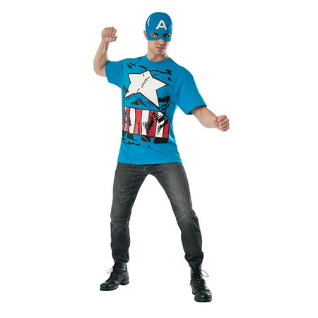 Classic Captain America T-Shirt Mens Marvel Superhero Costume Top - Marvel Superhero Costume
