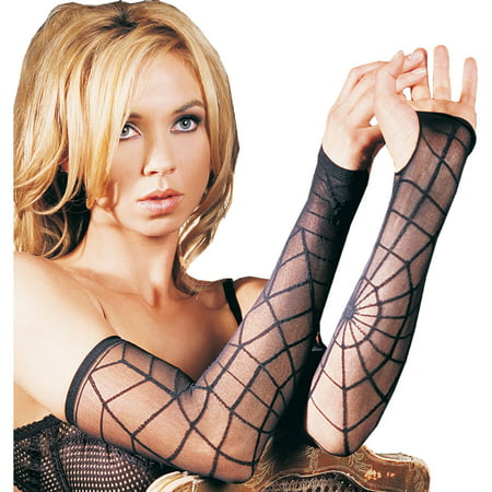 Leg Avenue Women's Sheer Spider Web Arm Warmer, Black, One Size