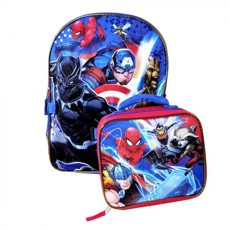 Marvel Avengers Kids School Backpack with Lunch Bag Set Boys Travel (Marvel Kid)