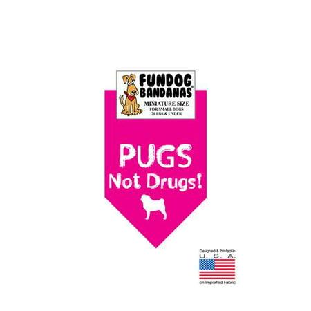 MINI Fun Dog Bandana - ROQUETS pas Drogues - Taille miniature pour petits chiens de moins de 20 lbs, écharpe animal rose chaud
