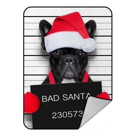PHFZK Animal Doge Blanket, Christmas Santa Bad Dog Fleece Blanket Crystal Velvet Front and Lambswool Sherpa Fleece Back Throw Blanket 58x80inches ()