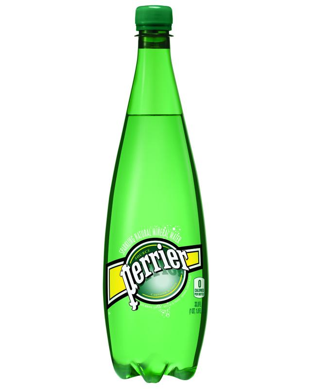 PERRIER Sparkling Natural Mineral Water, 1-liter plastic bottles by Nestle Waters