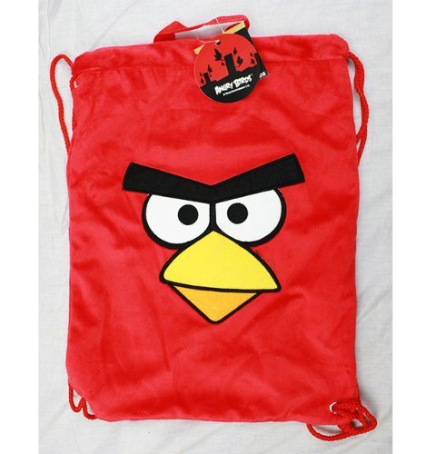 String Backpack - Angry Birds - Red Plush Sling Cinch Bag New Boys f11an7246