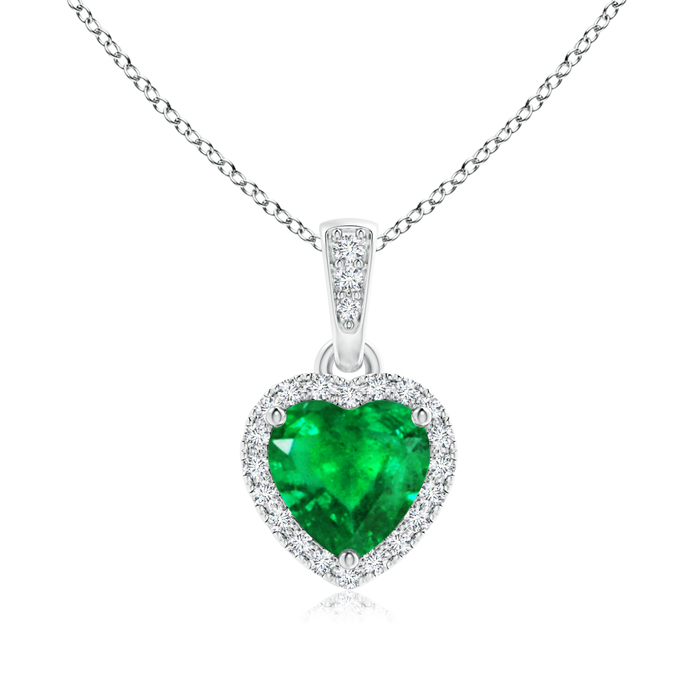 Angara Heart Shaped Emerald Necklace in Platinum s8zoXVc7