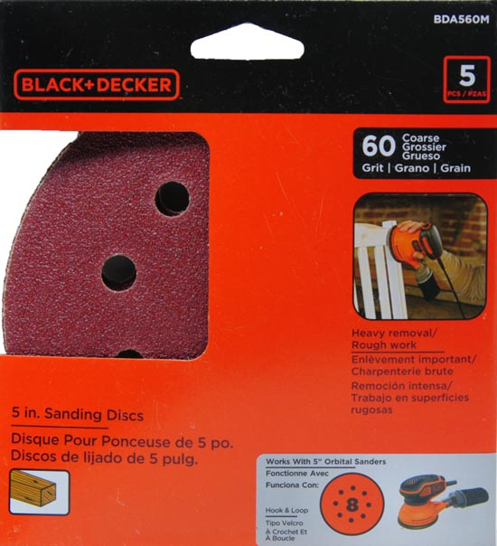 BLACK+DECKER 5-Inch 8 Hole 60G Sanding Disc