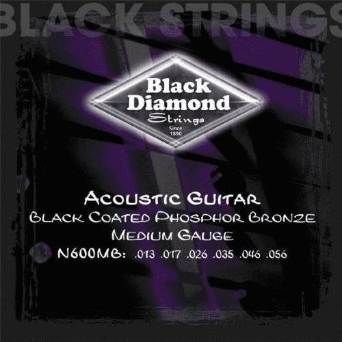 Black Diamond Medium Gauge Black Coated Phosphor Bronze Acoustic Guitar Strings by Black Diamond