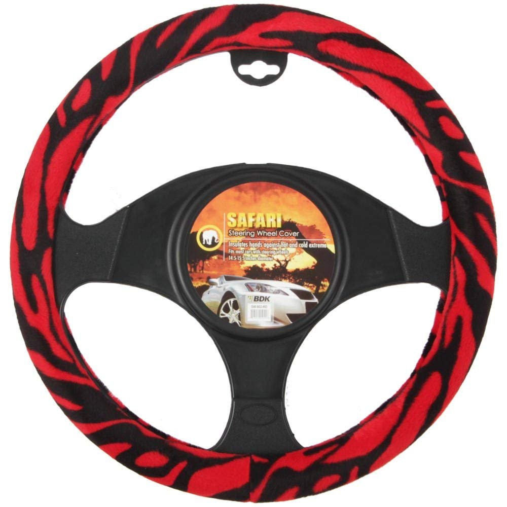 Universal Fit Steering Wheel Cover - (Red Zebra)