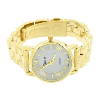 Womens Geneva Analog Watch Gold Tone Roman Dial Designer Brand New Water Resist
