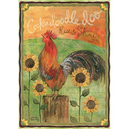 Rise And Shine Large Flag  2017 Rooster Folk Art By Lang Companies