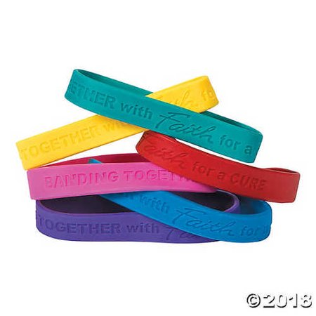 Faith Rubber (Cancer Awareness Faith Rubber Bracelets (24 Pack) Rubber )