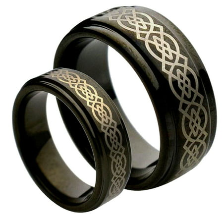 - His & Her's 8MM & 6MM Black Tungsten Carbide Wedding Band Ring Set w/Laser Etched Celtic Design