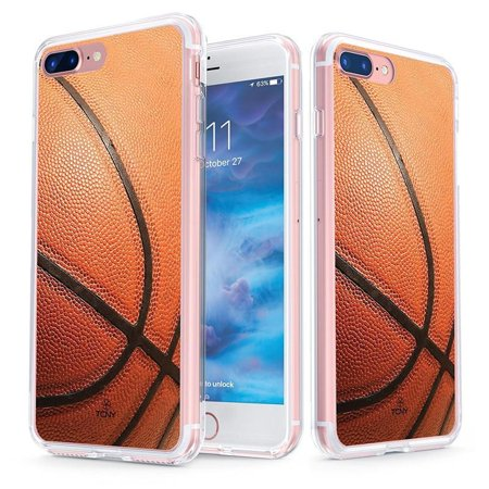 online store 84fee 8203e iPhone 8 Plus Case - True Color Clear-Shield Basketball Sports Collection  Printed on Clear Back - Soft and Hard Thin Shock Absorbing Dustproof Full  ...
