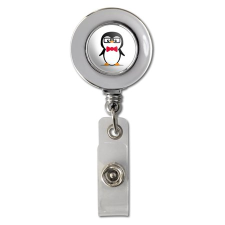 Cartoon Penguin with Bow Tie and Glasses Retractable Reel Chrome Badge ID Card Holder Clip ()