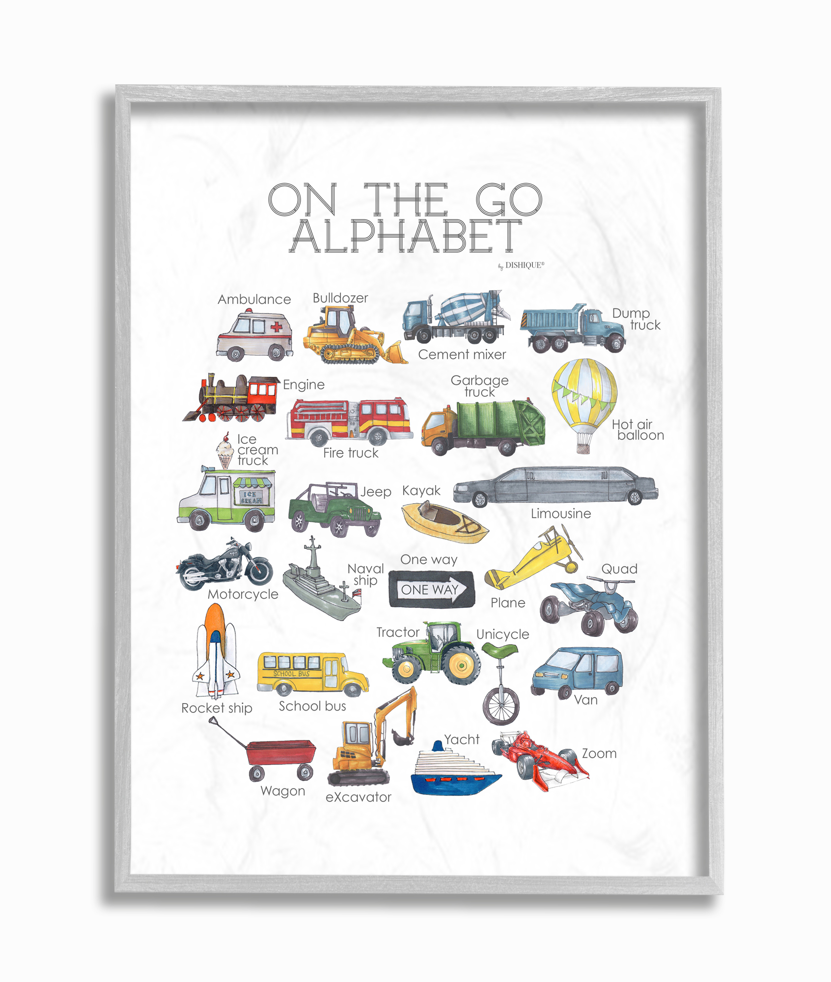 The Kids Room By Stupell Watercolor On The Go Transportation Alphabet With Firetruck Airplane And School Bus Wall Plaque Art Walmart Com Walmart Com