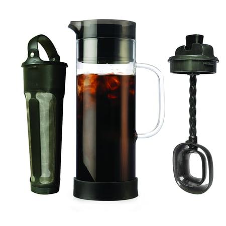 Primula Cold Brew 1.6 Qt. Temperature Safe Borosilicate Glass Carafe Coffee Maker with Brew Core and Flavor Mixer - Smokey Grey ()