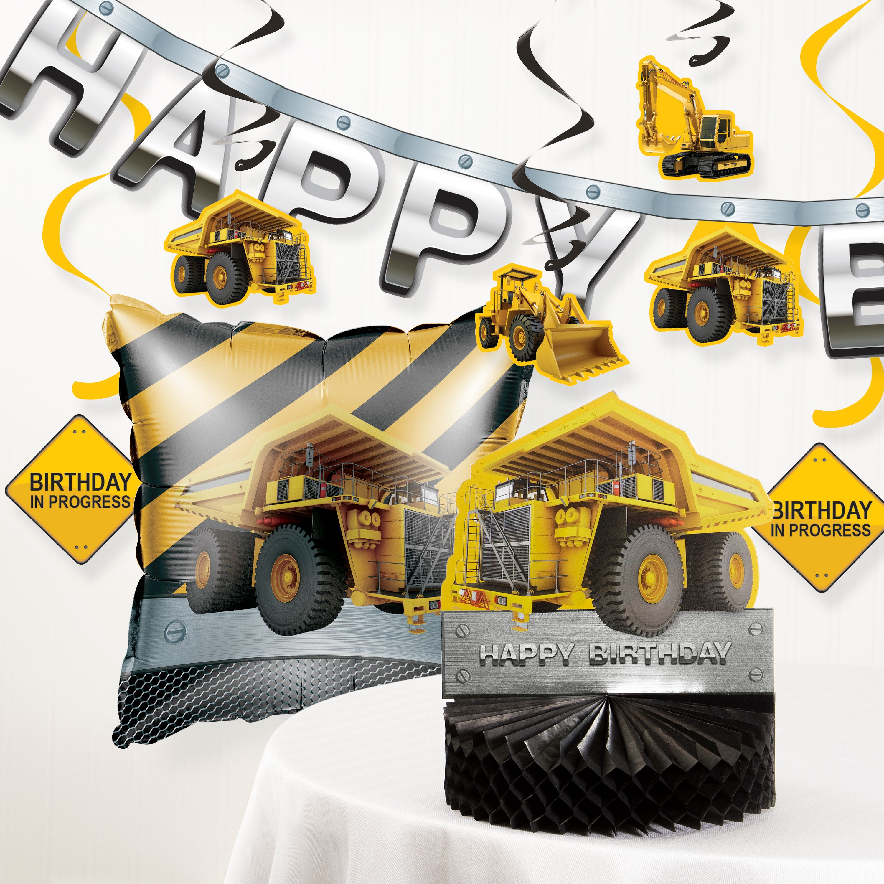 Birthday Zone Construction Party Decorations Kit