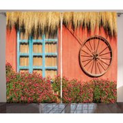Barn Wood Wagon Wheel Curtains 2 Panels Set, Country House in Ecuador Red Wall Window Summer Flowers Straw Roof, Window Drapes for Living Room Bedroom, 108W X 84L Inches, Multicolor, by Ambesonne