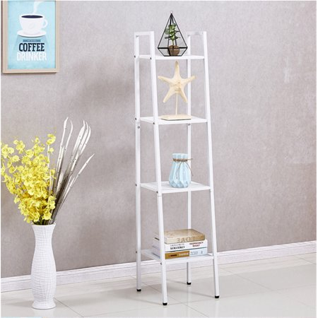 4-Tier Ladder Shelf Bookshelf Bookcase Corner Ladder Shelf Display Leaning Home Office Decor