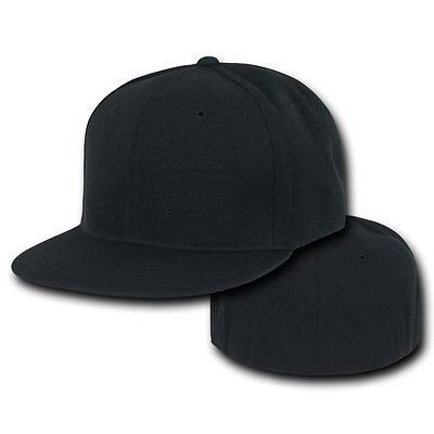 Bill 6 Panel Fitted Cap (Black Fitted Flat Bill Plain Solid Blank Ball - Hat / Cap _6 7/8 )