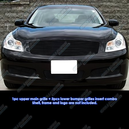 Compatible with 07-08 Infiniti G35 Sedan Black Billet Grille Grill Combo Insert N19-H00118N ()
