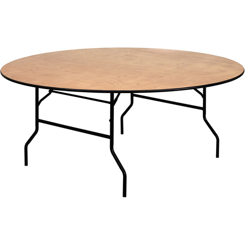 Flash Furniture 72 Round Folding Banquet Table ClearCoated Wood
