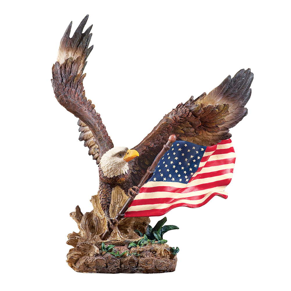 Patriotic Bald Eagle with American Flag Tabletop Statue Figurine by Collections Etc