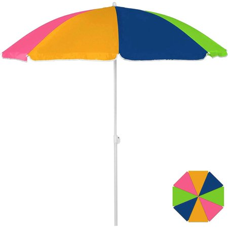 Beach Umbrella 6ft Polyester Neon Orange, Lime Green, Pink and Blue (1/Pkg) Pkg/1