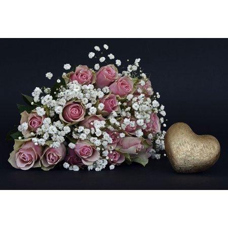Heart White Flower (LAMINATED POSTER Heart Roses Rose Flower Gold White Flowers Pink Poster Print 24 x 36)
