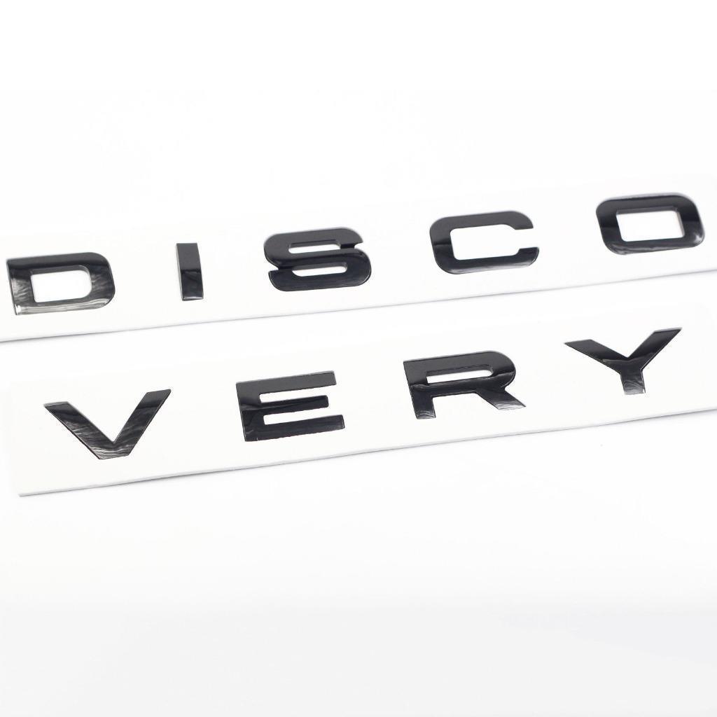 Car Black Discovery 3D Logo Front Hood Emblem Badges Sticker Set For Land Rover