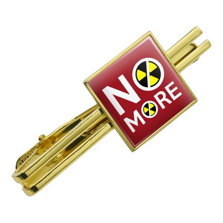 No More Nuclear Nuke Clean Energy Power Square Tie Bar Clip Clasp Tack- Silver or Gold
