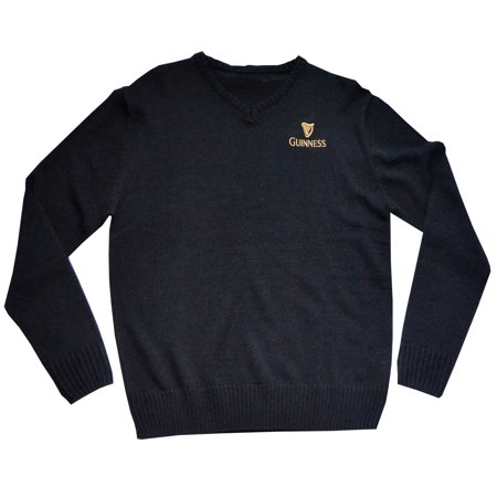 Mens Cable Knit Jumper (Official Guinness Men's Knit Jumper With Gold Guinness Harp Logo & Text )