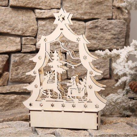 Christmas Decor Ornament LED Lights Deer Cart Luminous Wooden House Mall Window ()