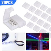 EEEKit 20pcs 5050 RGB LED Strip Light Connectors, 4 Pin Conductor Unwired Solderless LED Strip to Strip Connector, 10 mm Wide LED Tape Light Gapless Adapter, Strip to Strip Jumper