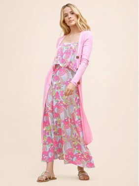 Scoop Women's Square Neck Tank Printed Midi Dress