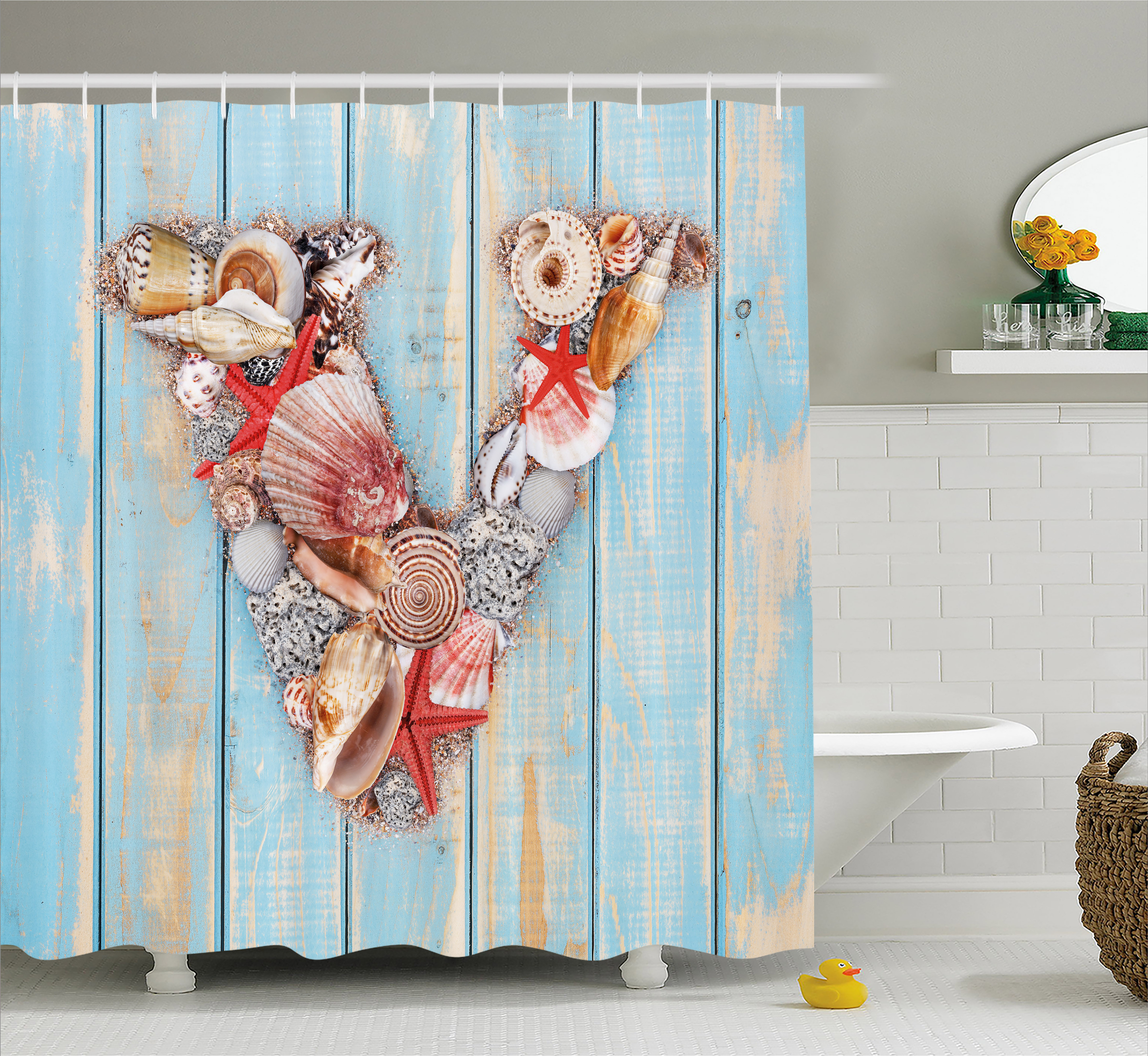 Letter V Shower Curtain, Nautical ABC with Beach Inspired Coastal Oceanic Marine Elements, Fabric Bathroom Set with Hooks, 69W X 70L Inches, Pale Blue Ivory Dark Coral, by Ambesonne