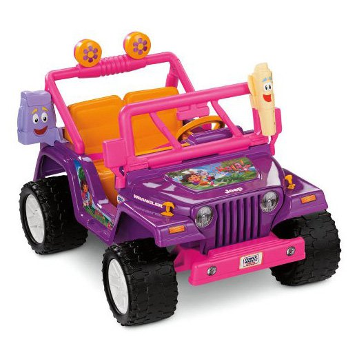 Fisher-Price Power Wheels Girls' Dora Jeep Wrangler 12-Volt Battery-Powered Ride-On