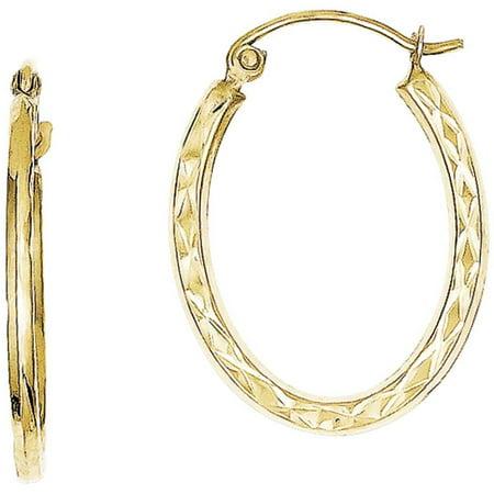 10kt Gold Textured Lightweight Oval Hoop Earrings
