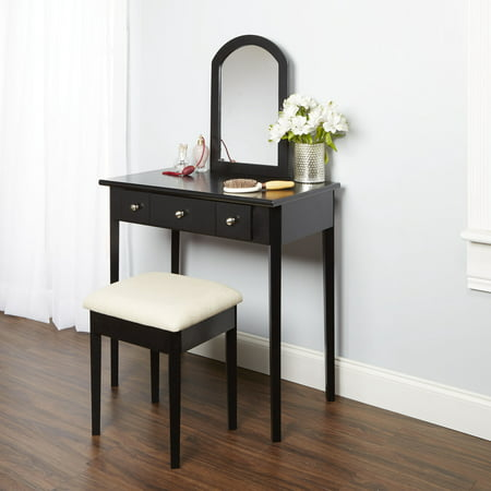 Aria Vanity (Mainstays Mirror Vanity With Bench - Powered Outlet and 2-USB Ports)