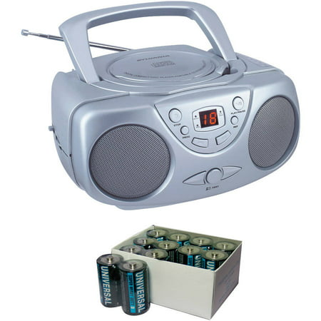Sylvania SRCD243M Silver Portable CD Boom Boxes with AM/FM Radio and UPG D5624/D5324/D5924 Super-Heavy-Duty Battery Value Box (C; 24-Pack)