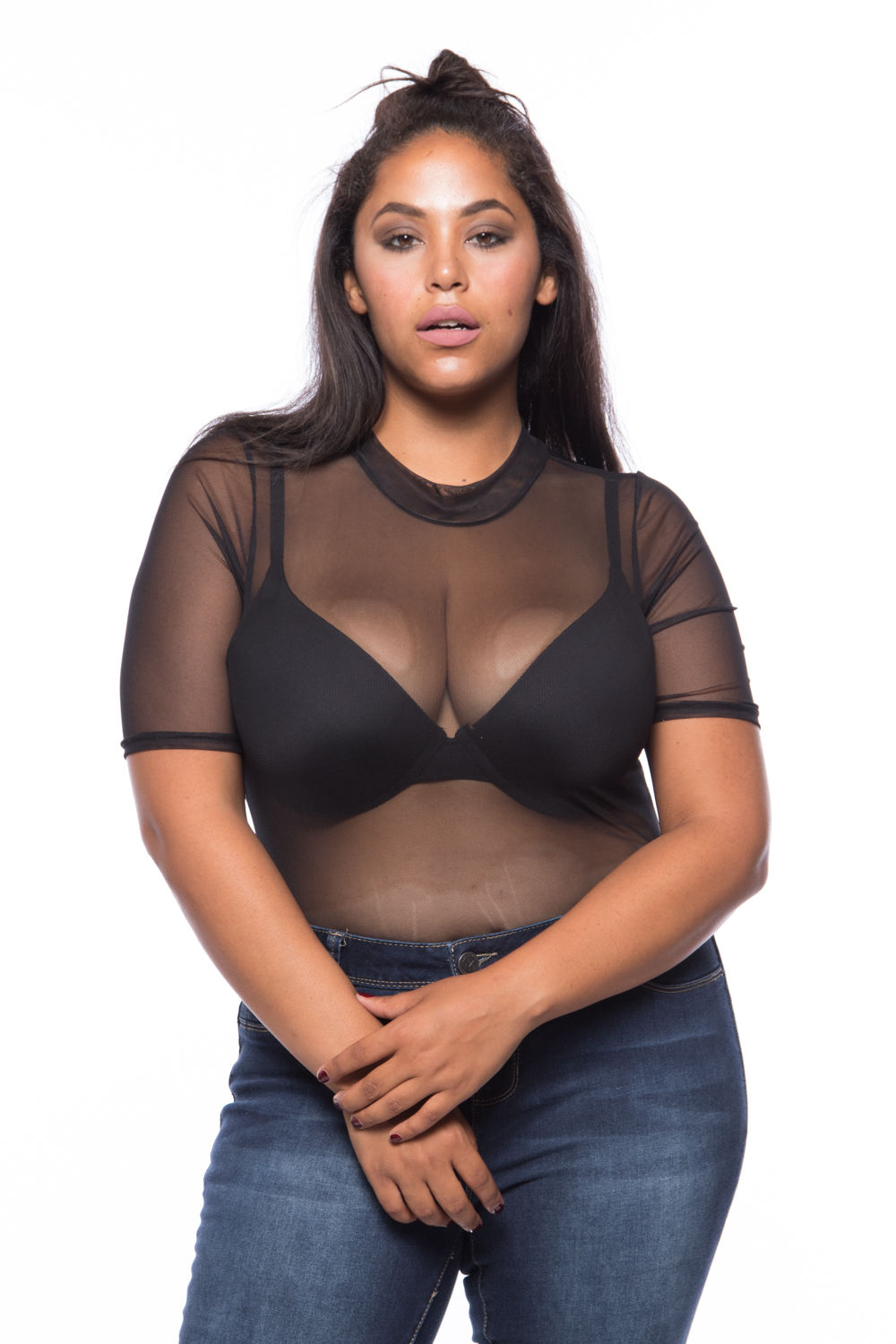 Womens Plus Size Sexy Sheer Color Short Sleeves Bodysuit Blouse Top B2078ES