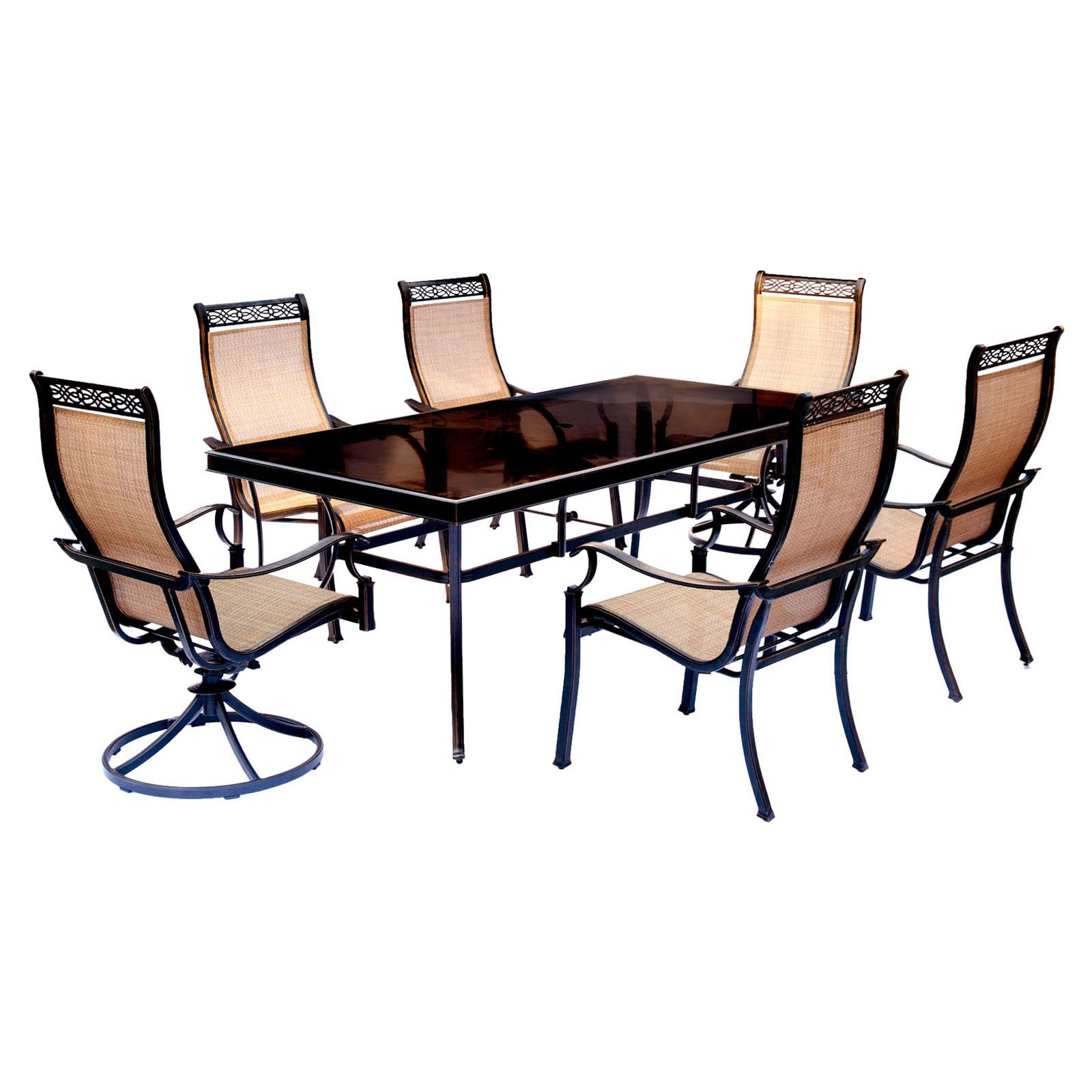"""Hanover Outdoor Monaco 7-Piece Sling Dining Set with 42"""" x 84"""" Glass-Top Table, 4 Stationary Chairs and 2 Swivel Rockers, Cedar"""