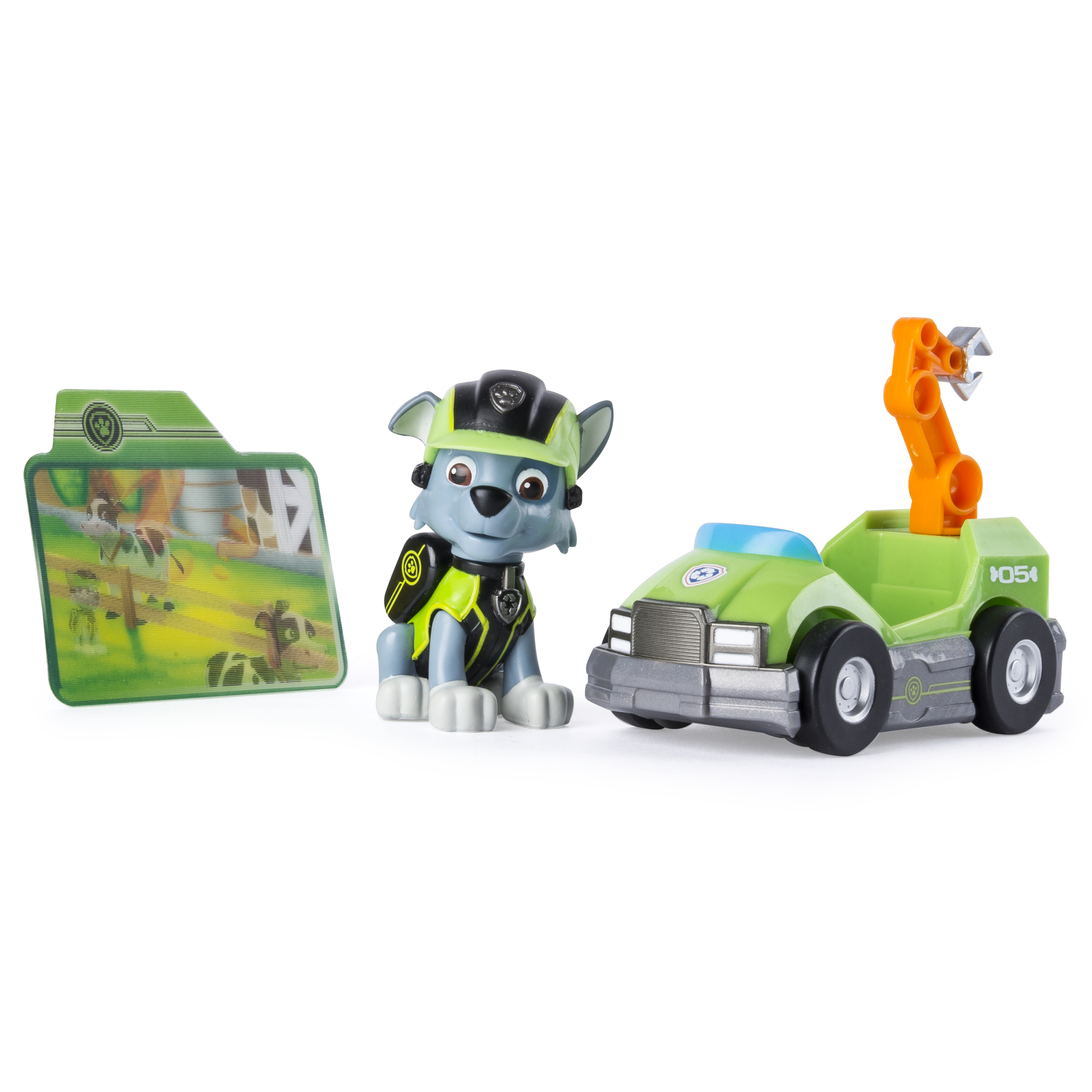 <p>Paw Patrol Mission Paw - Rocky's Repair Kart - Figure and Vehicle</p>