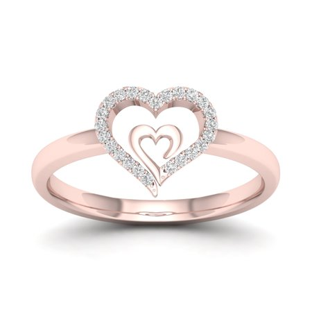 1/10Ct TDW Diamond 10k Rose Gold Heart in Heart Fashion Ring