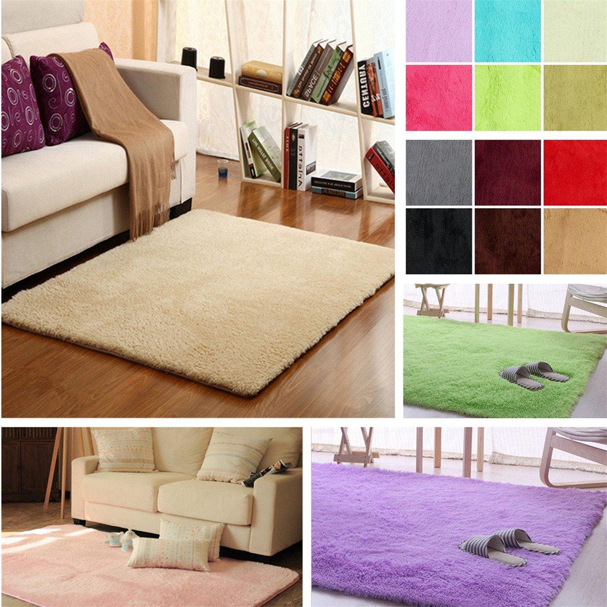 2 Sizes Anti Skid Shaggy Fluffy Area Rug Bedroom Carpet Floor Warm Yoga Mat Mat For Home Decor 160x120cm 160x80cm